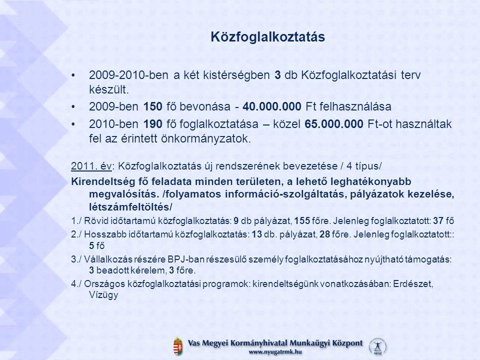 Közfoglalkoztatás 2009-2010-ben a két kistérségben 3 db Közfoglalkoztatási terv készült. 2009-ben 150 fő bevonása - 40.000.000 Ft felhasználása 2010-b