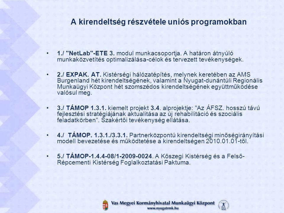 A kirendeltség részvétele uniós programokban 1./