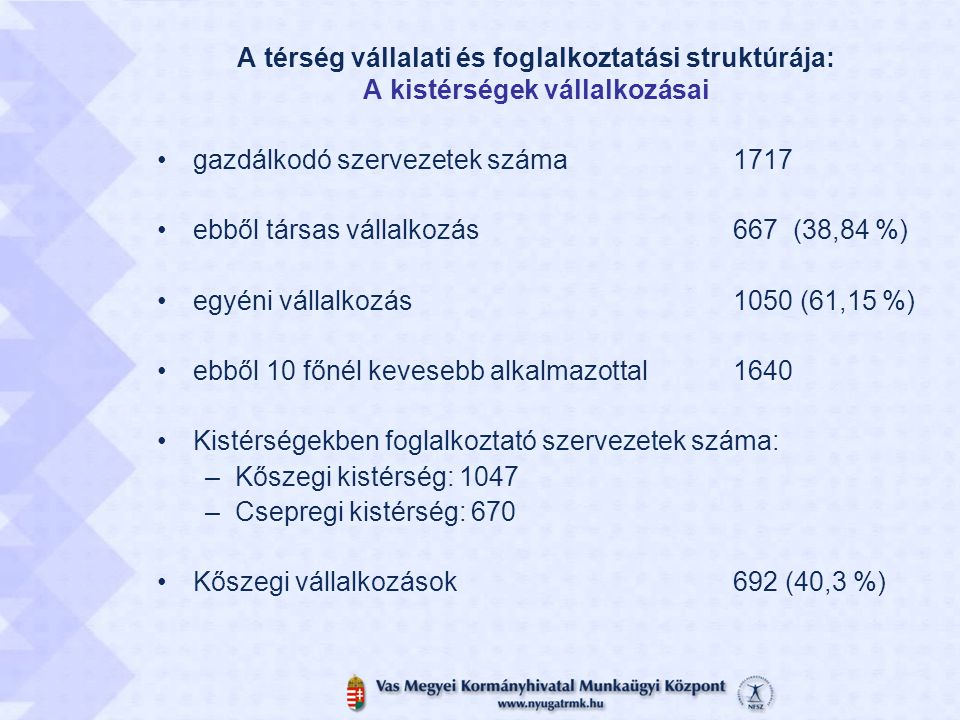 A térség vállalati és foglalkoztatási struktúrája: A kistérségek vállalkozásai gazdálkodó szervezetek száma1717 ebből társas vállalkozás 667 (38,84 %)
