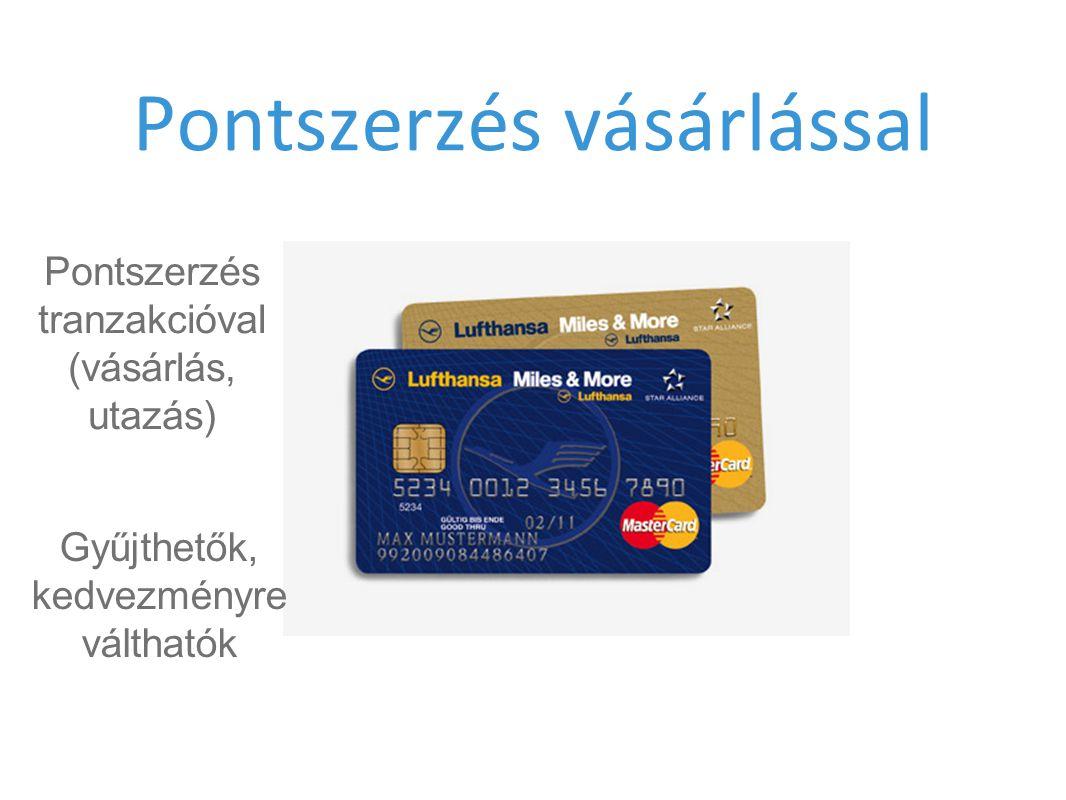 Pontszerzés vásárlással Pontszerzés tranzakcióval (vásárlás, utazás) Gyűjthetők, kedvezményre válthatók