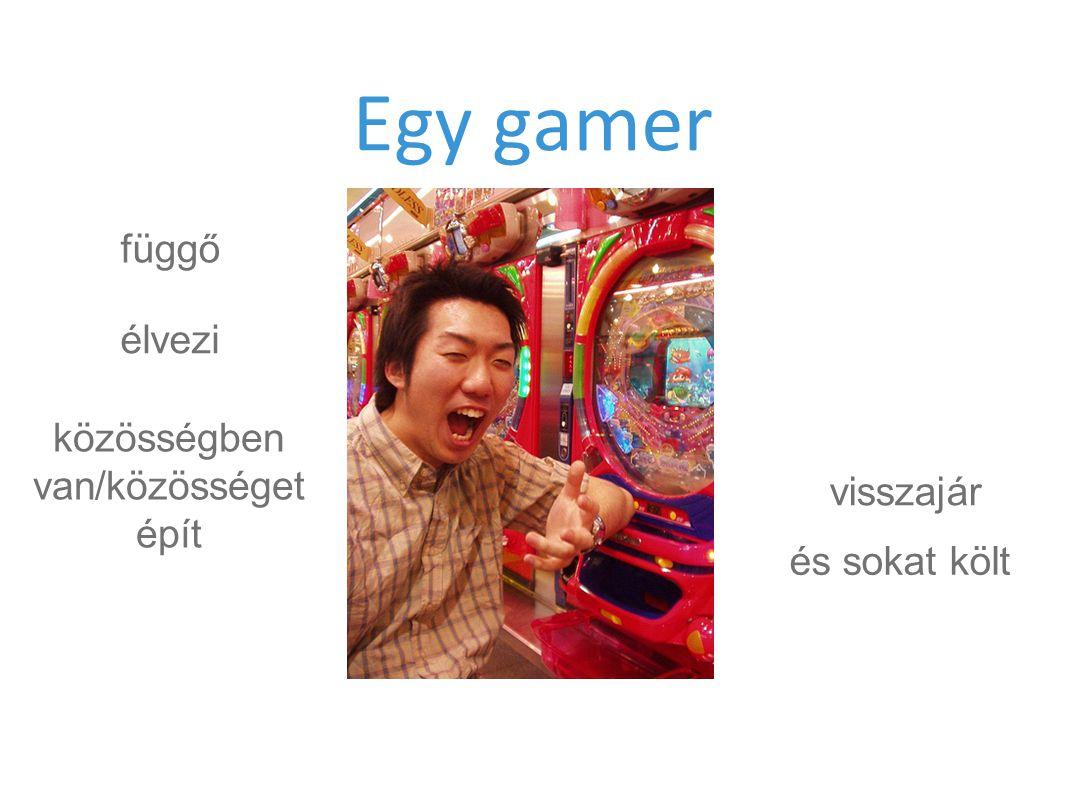 Egy gamer függő élvezi közösségben van/közösséget épít és sokat költ visszajár