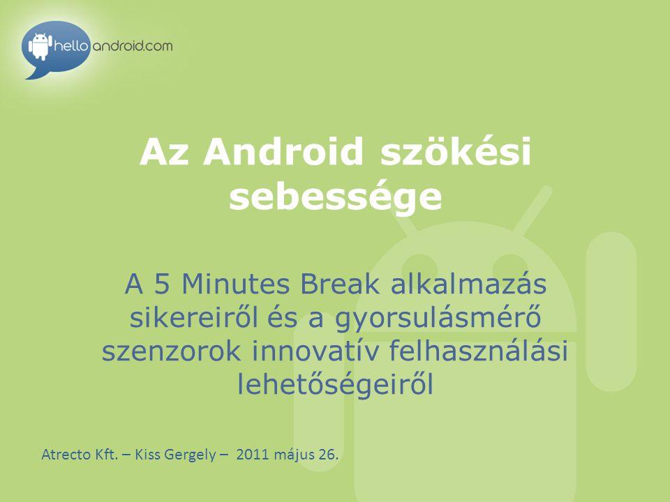 Kik vagyunk HelloAndroid.com (Atrecto Kft.) Androidra és egyéb okostelefonokra fejlesztünk alkalmazásokat 2009 óta A HelloAndroid.com portál az egyik legnagyobb Androidos fejlesztői közösség Közös kutatás és oktatás a győri Széchenyi Egyetemmel