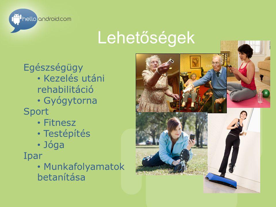 Lehetőségek Egészségügy Kezelés utáni rehabilitáció Gyógytorna Sport Fitnesz Testépítés Jóga Ipar Munkafolyamatok betanítása