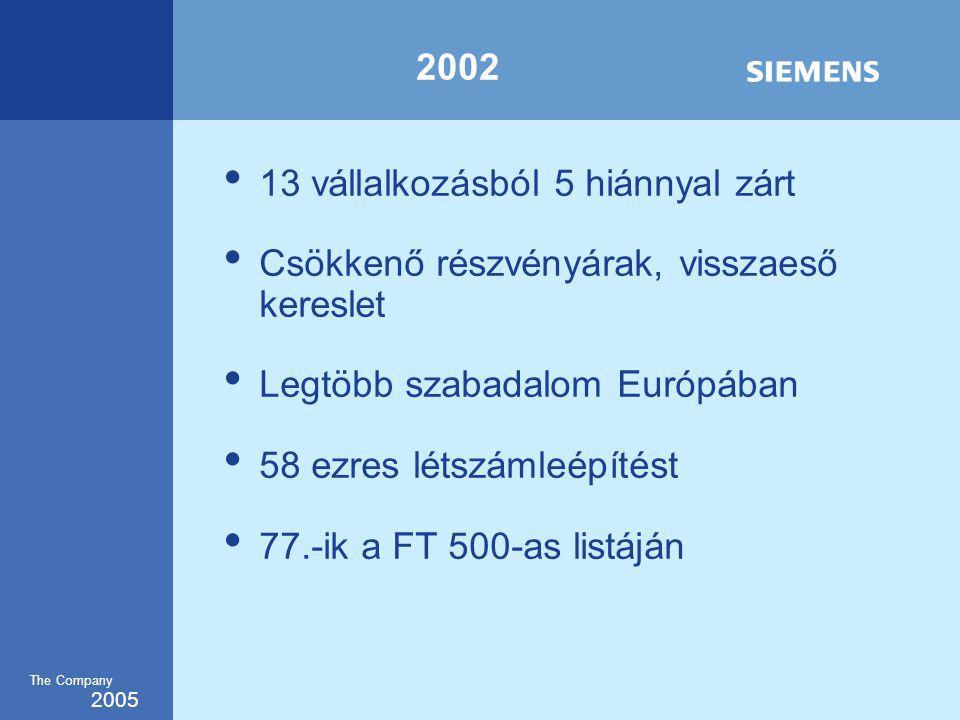 2005 The Company 2002 13 vállalkozásból 5 hiánnyal zárt Csökkenő részvényárak, visszaeső kereslet Legtöbb szabadalom Európában 58 ezres létszámleépítést 77.-ik a FT 500-as listáján