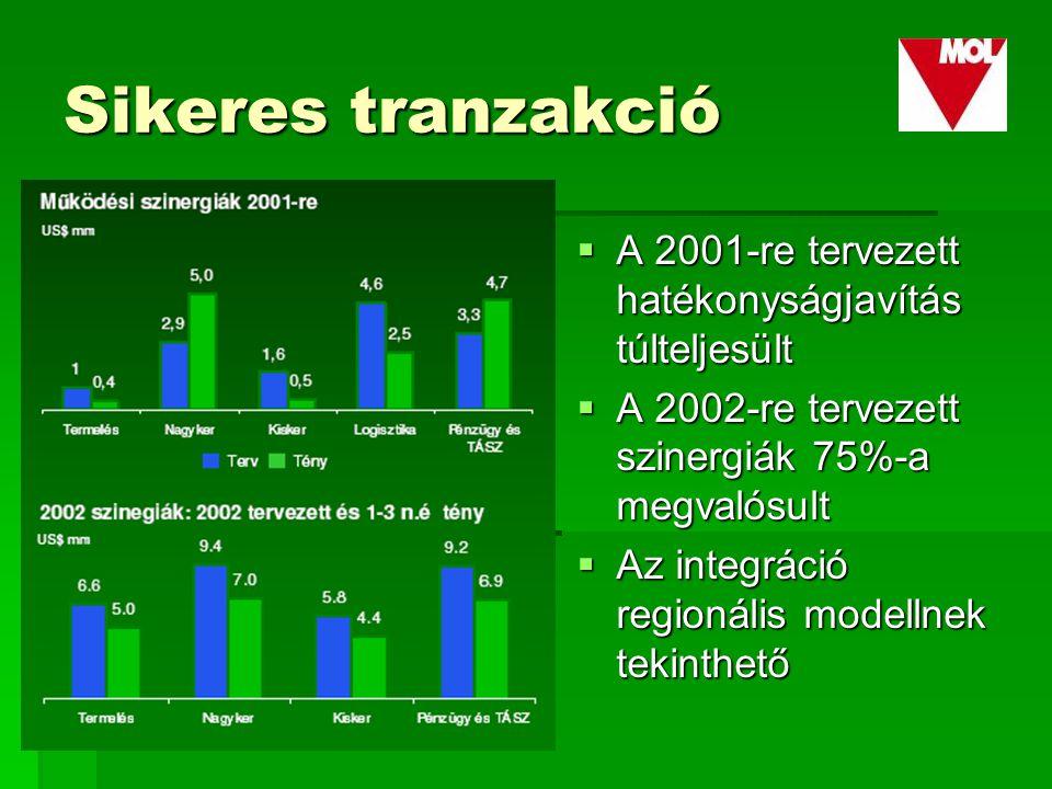 Sikeres tranzakció  A 2001-re tervezett hatékonyságjavítás túlteljesült  A 2002-re tervezett szinergiák 75%-a megvalósult  Az integráció regionális modellnek tekinthető