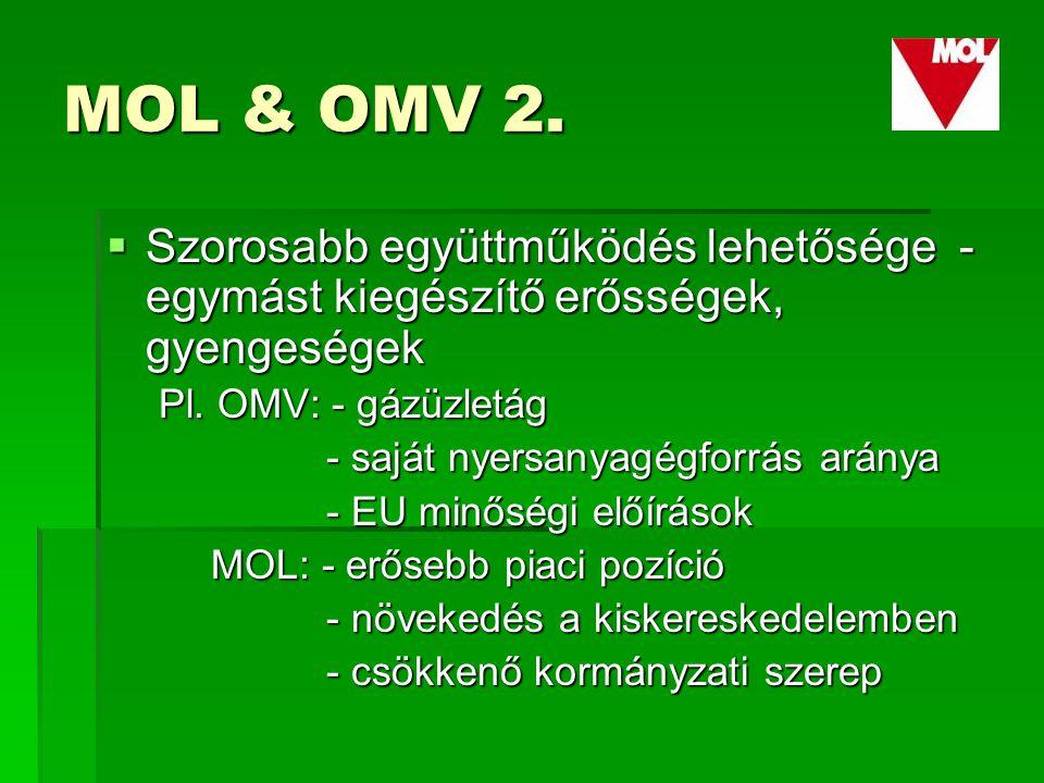 MOL & OMV 2.  Szorosabb együttműködés lehetősége - egymást kiegészítő erősségek, gyengeségek Pl.