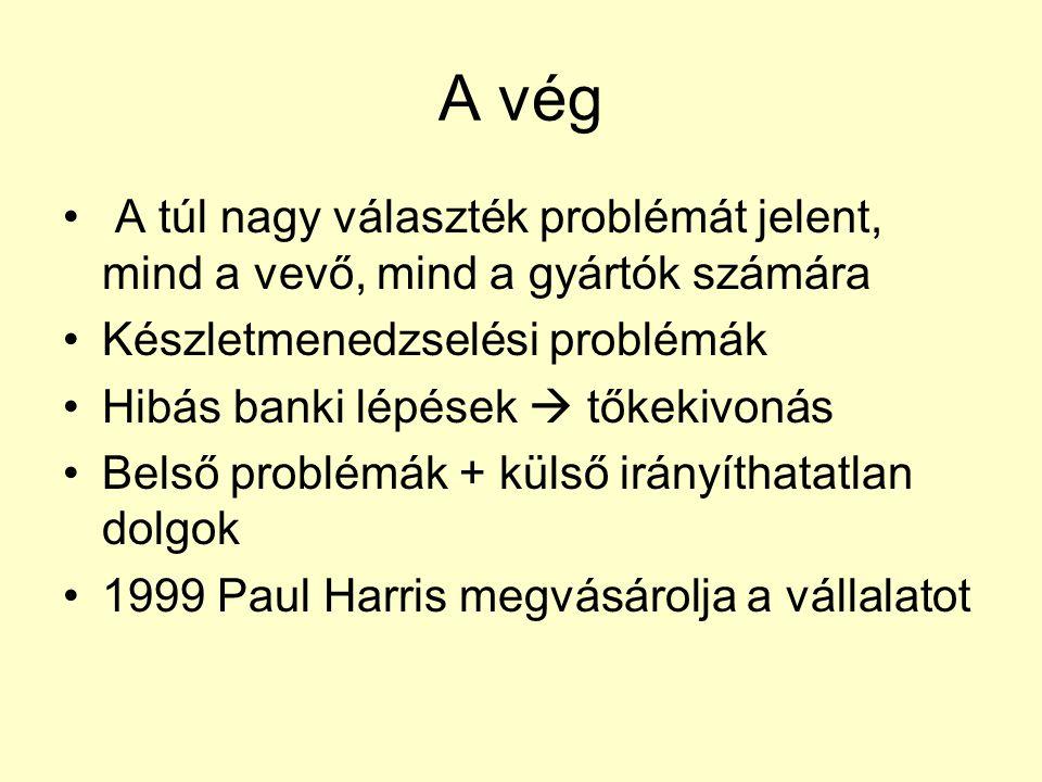A vég A túl nagy választék problémát jelent, mind a vevő, mind a gyártók számára Készletmenedzselési problémák Hibás banki lépések  tőkekivonás Belső problémák + külső irányíthatatlan dolgok 1999 Paul Harris megvásárolja a vállalatot