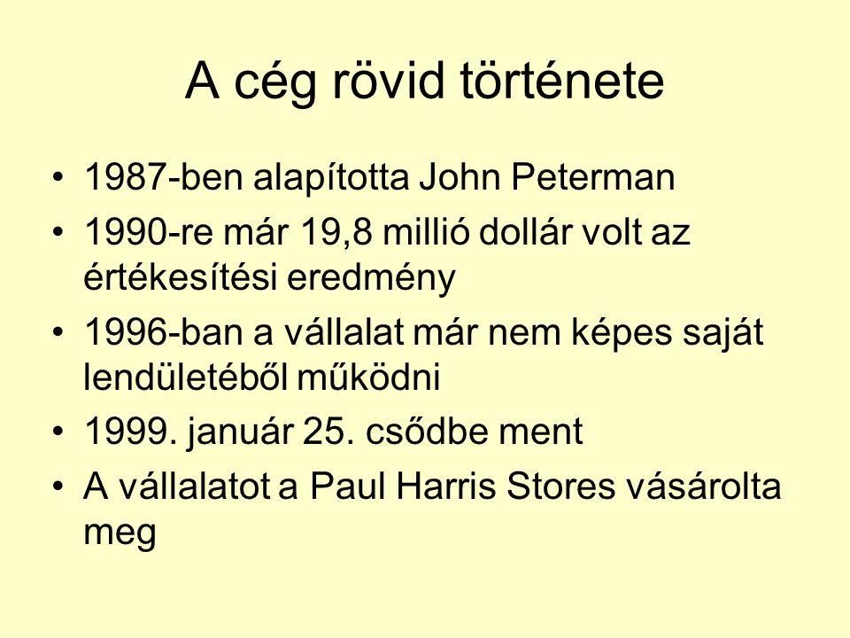 A cég rövid története 1987-ben alapította John Peterman 1990-re már 19,8 millió dollár volt az értékesítési eredmény 1996-ban a vállalat már nem képes saját lendületéből működni 1999.