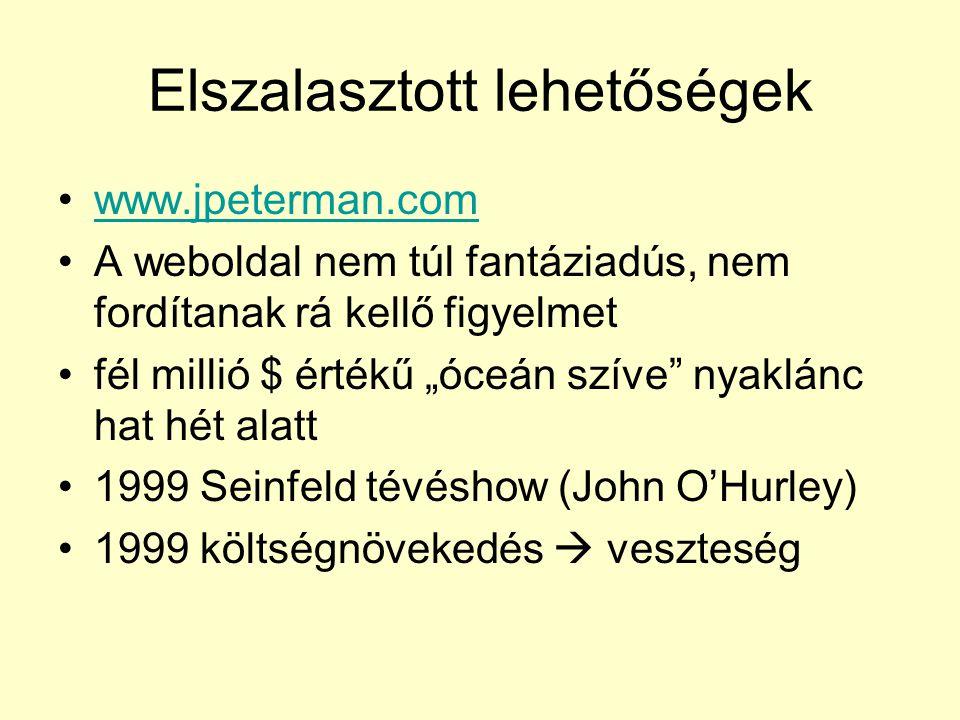 """Elszalasztott lehetőségek www.jpeterman.com A weboldal nem túl fantáziadús, nem fordítanak rá kellő figyelmet fél millió $ értékű """"óceán szíve nyaklánc hat hét alatt 1999 Seinfeld tévéshow (John O'Hurley) 1999 költségnövekedés  veszteség"""