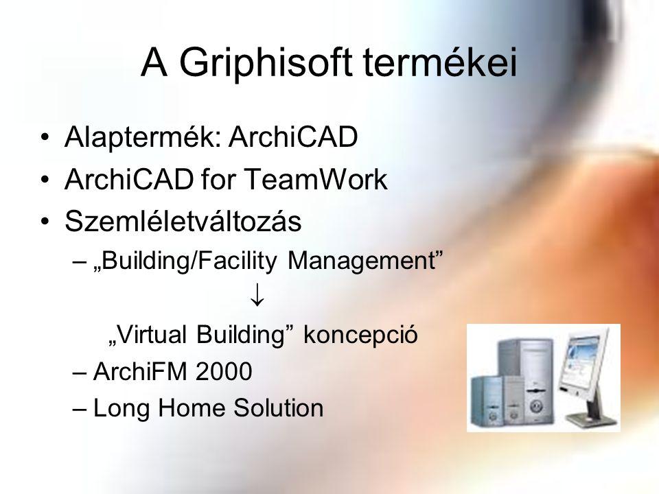 """A Griphisoft termékei Alaptermék: ArchiCAD ArchiCAD for TeamWork Szemléletváltozás –""""Building/Facility Management""""  """"Virtual Building"""" koncepció –Arc"""