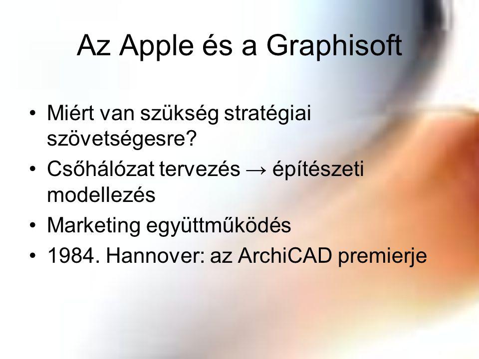 Az Apple és a Graphisoft Miért van szükség stratégiai szövetségesre? Csőhálózat tervezés → építészeti modellezés Marketing együttműködés 1984. Hannove