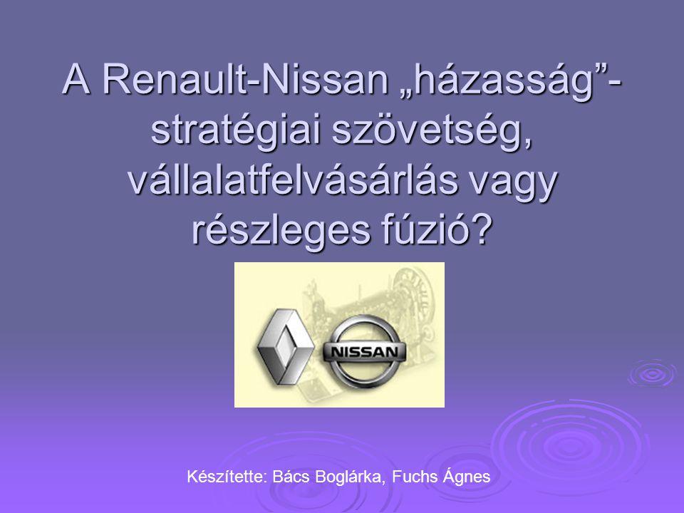 """A Renault-Nissan """"házasság""""- stratégiai szövetség, vállalatfelvásárlás vagy részleges fúzió? Készítette: Bács Boglárka, Fuchs Ágnes"""