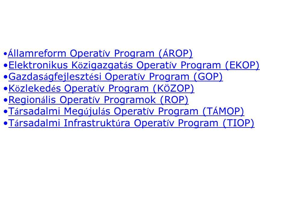 Á llamreform Operat í v Program ( Á ROP)Á llamreform Operat í v Program ( Á ROP) Elektronikus K ö zigazgat á s Operat í v Program (EKOP)Elektronikus K ö zigazgat á s Operat í v Program (EKOP) Gazdas á gfejleszt é si Operat í v Program (GOP)Gazdas á gfejleszt é si Operat í v Program (GOP) K ö zleked é s Operat í v Program (K Ö ZOP)K ö zleked é s Operat í v Program (K Ö ZOP) Region á lis Operat í v Programok (ROP)Region á lis Operat í v Programok (ROP) T á rsadalmi Meg ú jul á s Operat í v Program (T Á MOP)T á rsadalmi Meg ú jul á s Operat í v Program (T Á MOP) T á rsadalmi Infrastrukt ú ra Operat í v Program (TIOP)T á rsadalmi Infrastrukt ú ra Operat í v Program (TIOP)