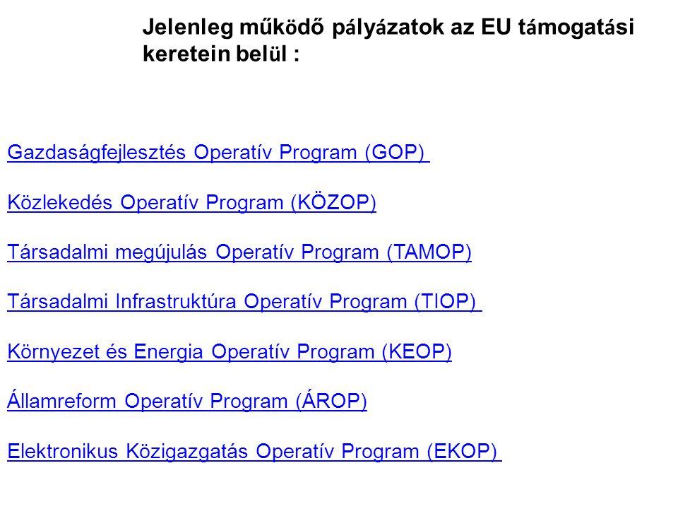 Jelenleg műk ö dő p á ly á zatok az EU t á mogat á si keretein bel ü l : Gazdaságfejlesztés Operatív Program (GOP) Közlekedés Operatív Program (KÖZOP)Gazdaságfejlesztés Operatív Program (GOP) Közlekedés Operatív Program (KÖZOP) Társadalmi megújulás Operatív Program (TAMOP)Társadalmi megújulás Operatív Program (TAMOP) Társadalmi Infrastruktúra Operatív Program (TIOP) Környezet és Energia Operatív Program (KEOP) Államreform Operatív Program (ÁROP) Elektronikus Közigazgatás Operatív Program (EKOP) Társadalmi Infrastruktúra Operatív Program (TIOP) Környezet és Energia Operatív Program (KEOP) Államreform Operatív Program (ÁROP) Elektronikus Közigazgatás Operatív Program (EKOP)