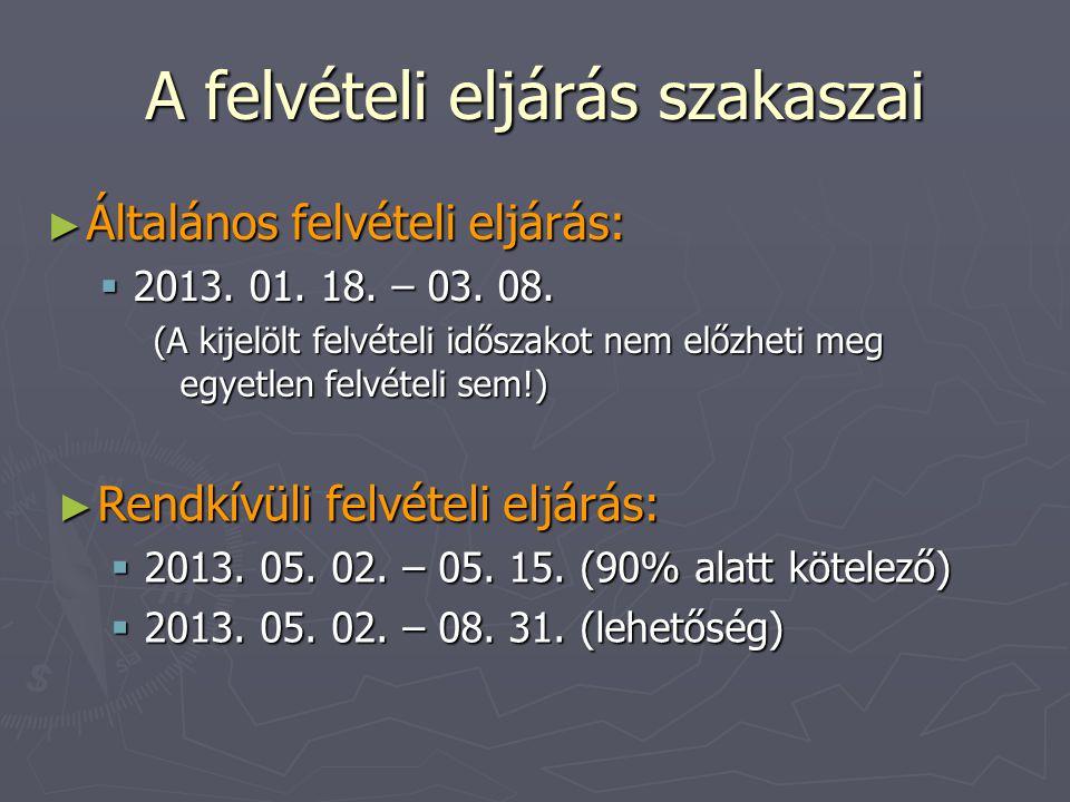 ► Rendkívüli felvételi eljárás:  2013. 05. 02. – 05.