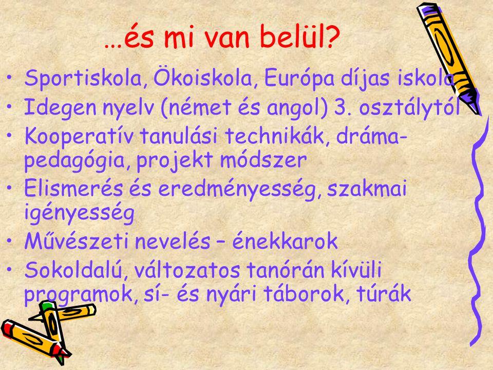 …és mi van belül.Sportiskola, Ökoiskola, Európa díjas iskola Idegen nyelv (német és angol) 3.