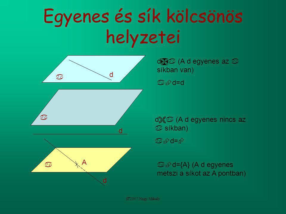  2007.Nagy Mihály Egyenes és sík kölcsönös helyzetei  d d  (A d egyenes az  síkban van)  d=d  d d  (A d egyenes nincs az  síkban)  d=  d