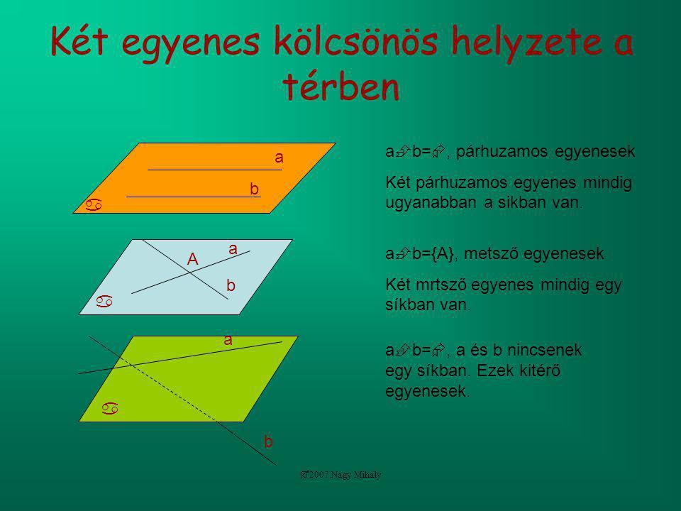  2007.Nagy Mihály Két egyenes kölcsönös helyzete a térben  a b a  b= , párhuzamos egyenesek Két párhuzamos egyenes mindig ugyanabban a sikban van.