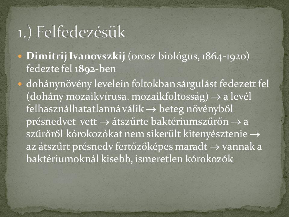 Dimitrij Ivanovszkij (orosz biológus, 1864-1920) fedezte fel 1892-ben dohánynövény levelein foltokban sárgulást fedezett fel (dohány mozaikvírusa, moz
