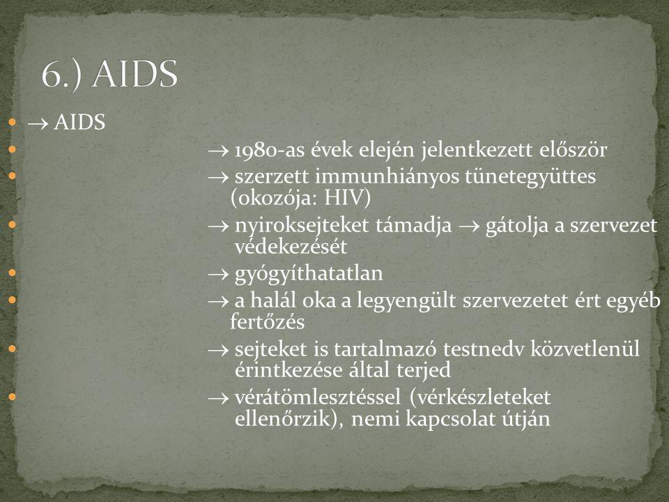  AIDS  1980-as évek elején jelentkezett először  szerzett immunhiányos tünetegyüttes (okozója: HIV)  nyiroksejteket támadja  gátolja a szervezet
