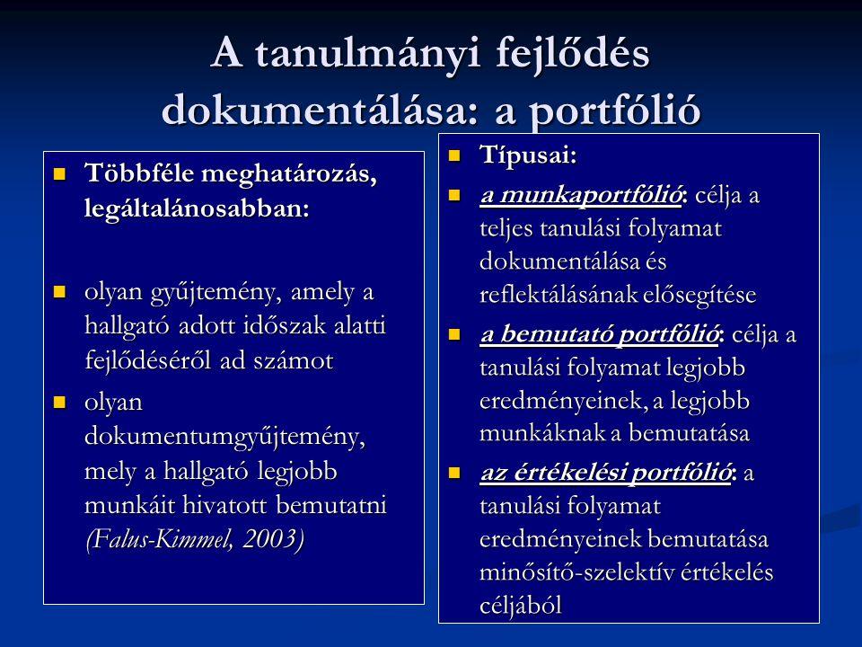 A tanulmányi fejlődés dokumentálása: a portfólió Többféle meghatározás, legáltalánosabban: Többféle meghatározás, legáltalánosabban: olyan gyűjtemény,
