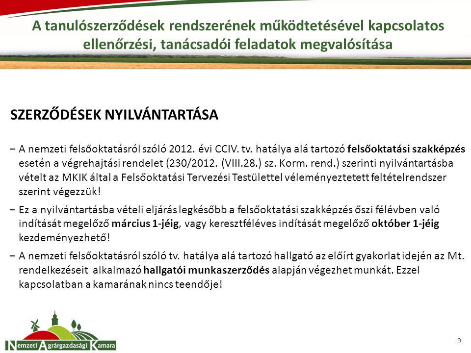 9 A tanulószerződések rendszerének működtetésével kapcsolatos ellenőrzési, tanácsadói feladatok megvalósítása −A nemzeti felsőoktatásról szóló 2012. é