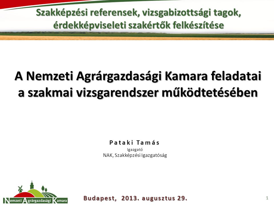 Szakképzési referensek, vizsgabizottsági tagok, érdekképviseleti szakértők felkészítése 1 A Nemzeti Agrárgazdasági Kamara feladatai a szakmai vizsgarendszer működtetésében Budapest, 2013.