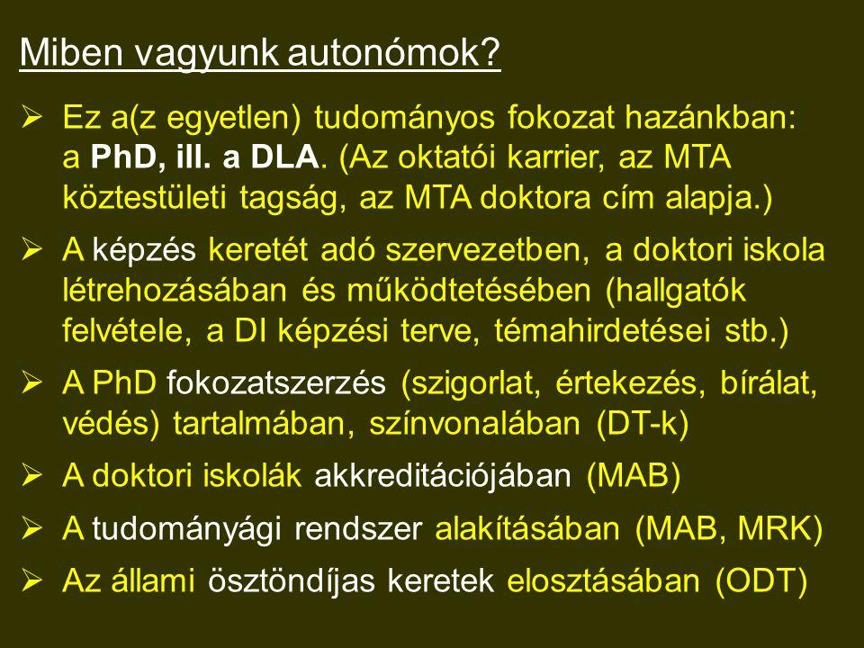 Miben vagyunk autonómok.  Ez a(z egyetlen) tudományos fokozat hazánkban: a PhD, ill.