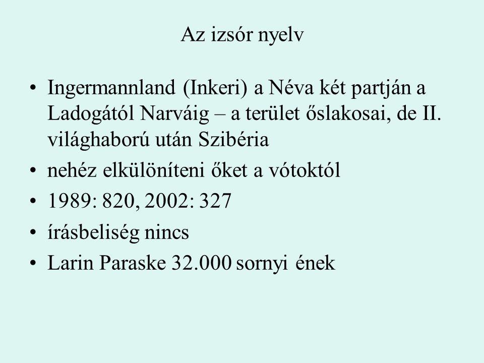 Az izsór nyelv Ingermannland (Inkeri) a Néva két partján a Ladogától Narváig – a terület őslakosai, de II. világhaború után Szibéria nehéz elkülöníten