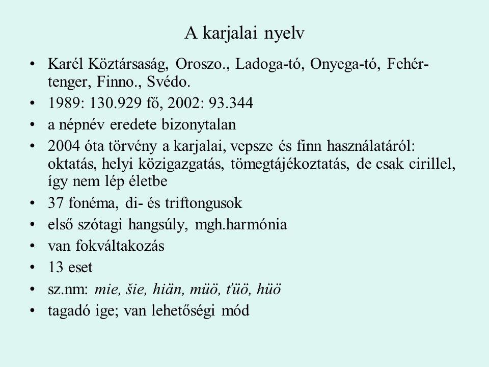 A karjalai nyelv Karél Köztársaság, Oroszo., Ladoga-tó, Onyega-tó, Fehér- tenger, Finno., Svédo. 1989: 130.929 fő, 2002: 93.344 a népnév eredete bizon