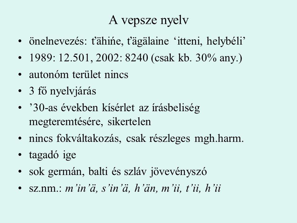 A vepsze nyelv önelnevezés: ťähińe, ťägälaine 'itteni, helybéli' 1989: 12.501, 2002: 8240 (csak kb. 30% any.) autonóm terület nincs 3 fő nyelvjárás '3