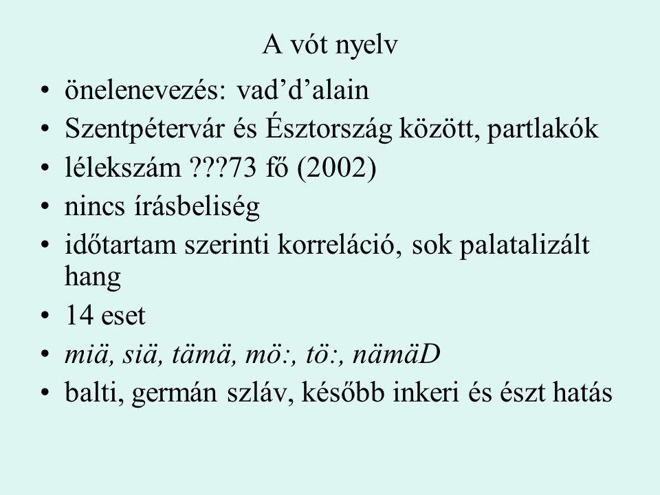 A vót nyelv önelenevezés: vad'd'alain Szentpétervár és Észtország között, partlakók lélekszám ???73 fő (2002) nincs írásbeliség időtartam szerinti kor