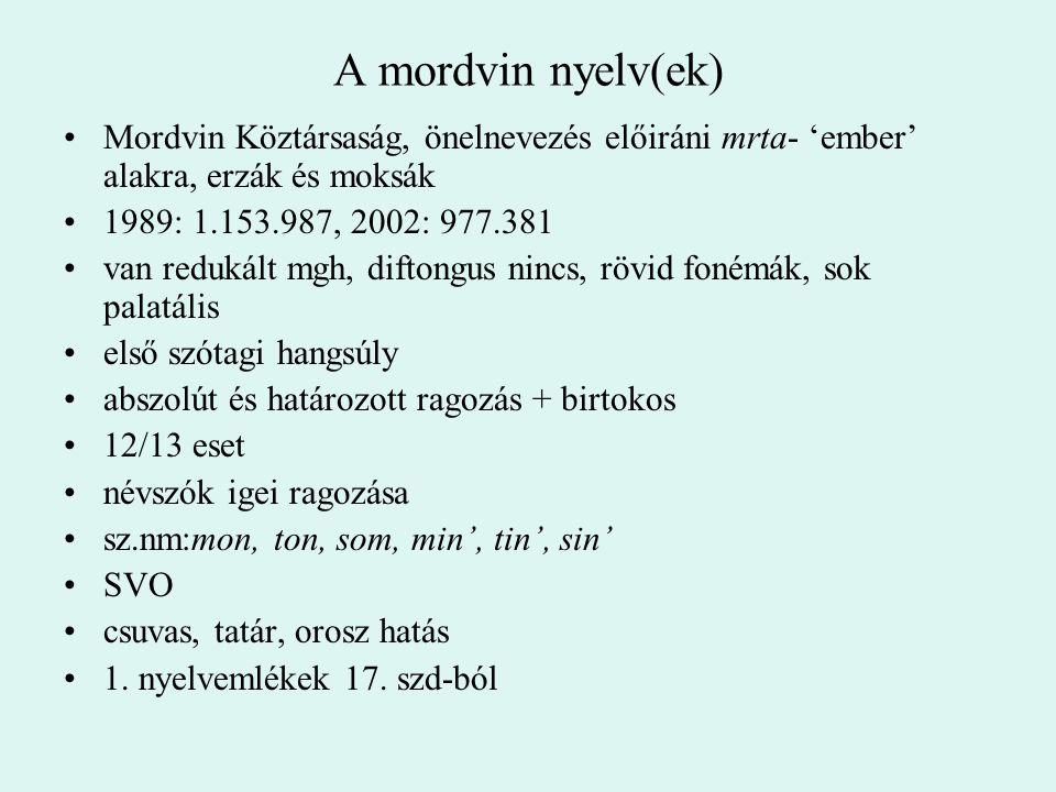 A mordvin nyelv(ek) Mordvin Köztársaság, önelnevezés előiráni mrta- 'ember' alakra, erzák és moksák 1989: 1.153.987, 2002: 977.381 van redukált mgh, d