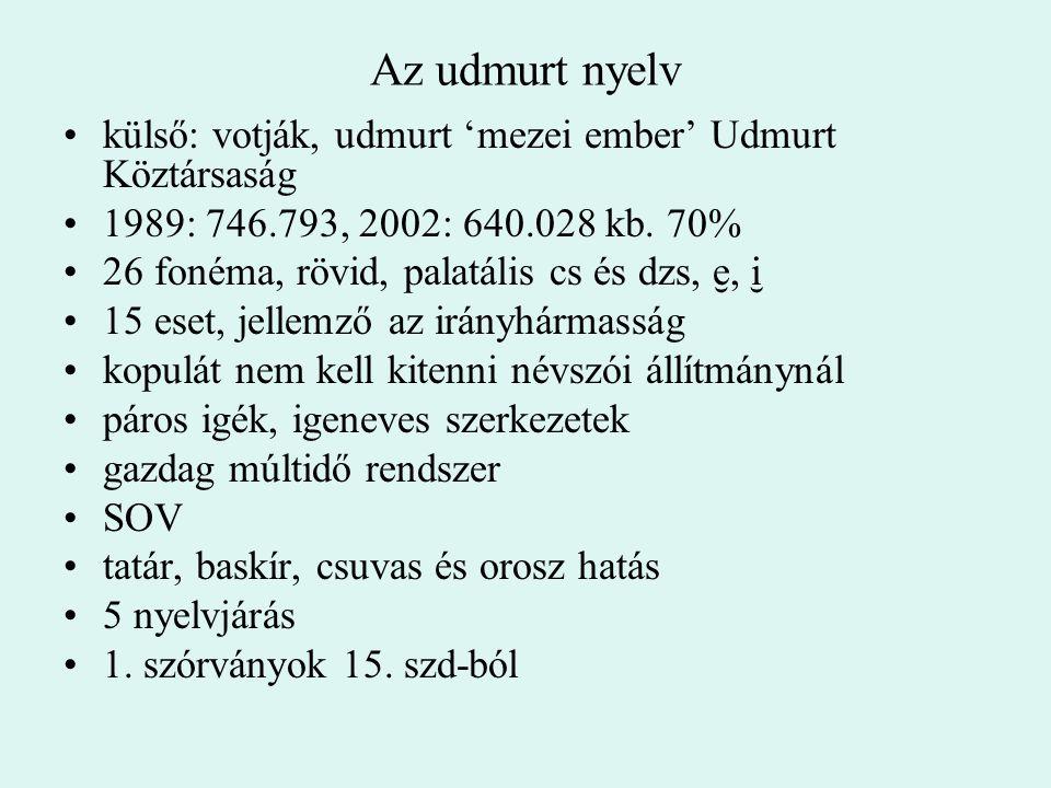 Az udmurt nyelv külső: votják, udmurt 'mezei ember' Udmurt Köztársaság 1989: 746.793, 2002: 640.028 kb. 70% 26 fonéma, rövid, palatális cs és dzs, I,