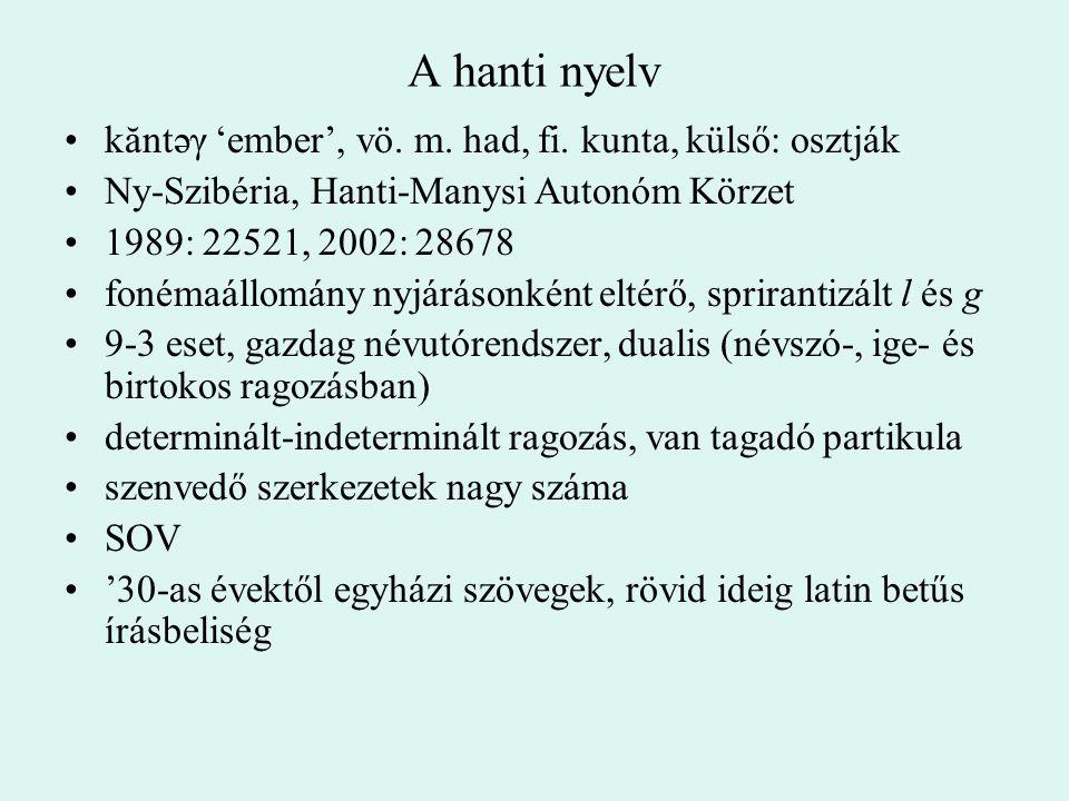 A hanti nyelv kăntəγ 'ember', vö. m. had, fi. kunta, külső: osztják Ny-Szibéria, Hanti-Manysi Autonóm Körzet 1989: 22521, 2002: 28678 fonémaállomány n