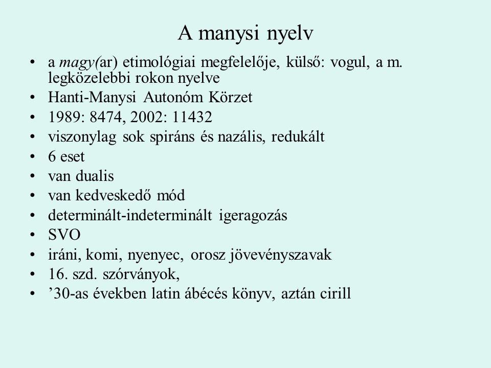 A manysi nyelv a magy(ar) etimológiai megfelelője, külső: vogul, a m. legközelebbi rokon nyelve Hanti-Manysi Autonóm Körzet 1989: 8474, 2002: 11432 vi