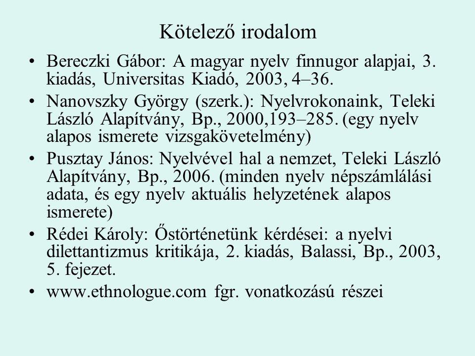 Kötelező irodalom Bereczki Gábor: A magyar nyelv finnugor alapjai, 3. kiadás, Universitas Kiadó, 2003, 4–36. Nanovszky György (szerk.): Nyelvrokonaink