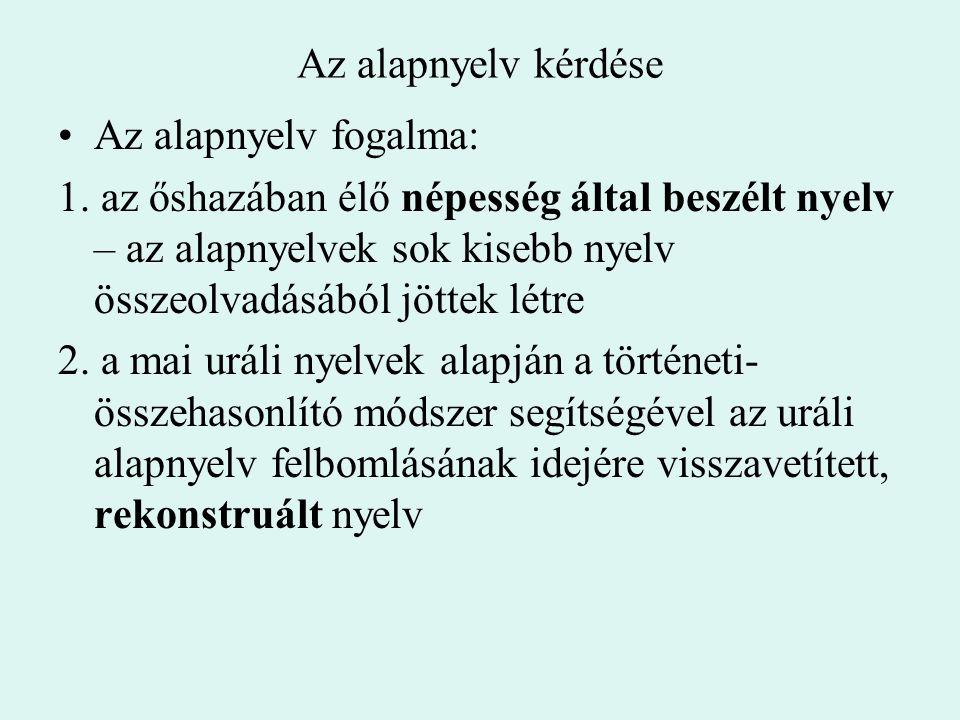 Az alapnyelv kérdése Az alapnyelv fogalma: 1. az őshazában élő népesség által beszélt nyelv – az alapnyelvek sok kisebb nyelv összeolvadásából jöttek