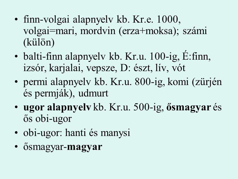 finn-volgai alapnyelv kb. Kr.e. 1000, volgai=mari, mordvin (erza+moksa); számi (külön) balti-finn alapnyelv kb. Kr.u. 100-ig, É:finn, izsór, karjalai,