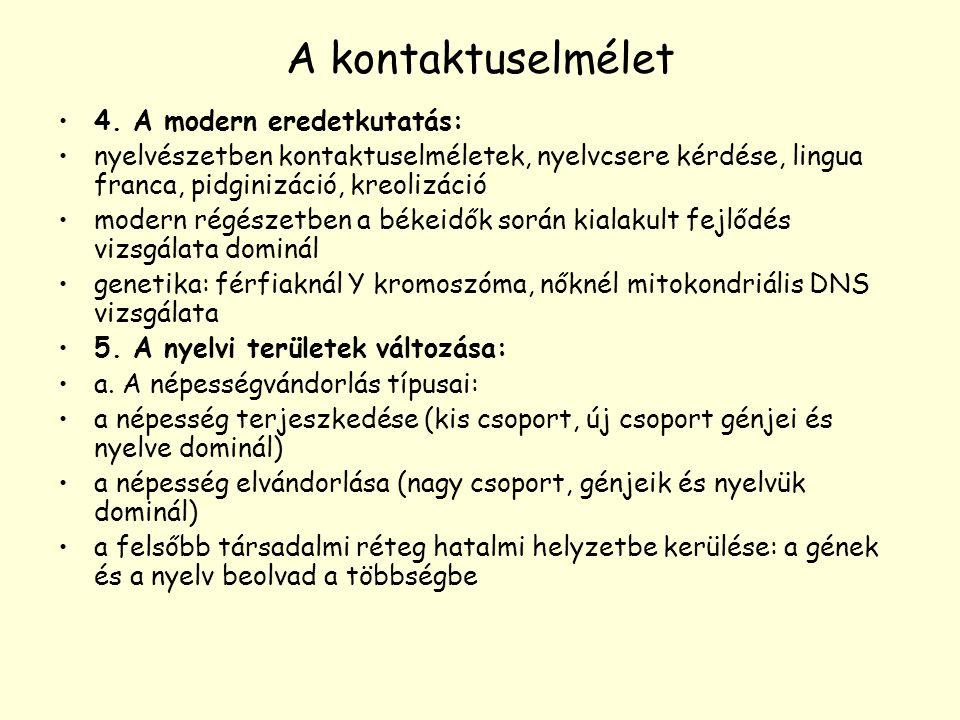A kontaktuselmélet 4. A modern eredetkutatás: nyelvészetben kontaktuselméletek, nyelvcsere kérdése, lingua franca, pidginizáció, kreolizáció modern ré