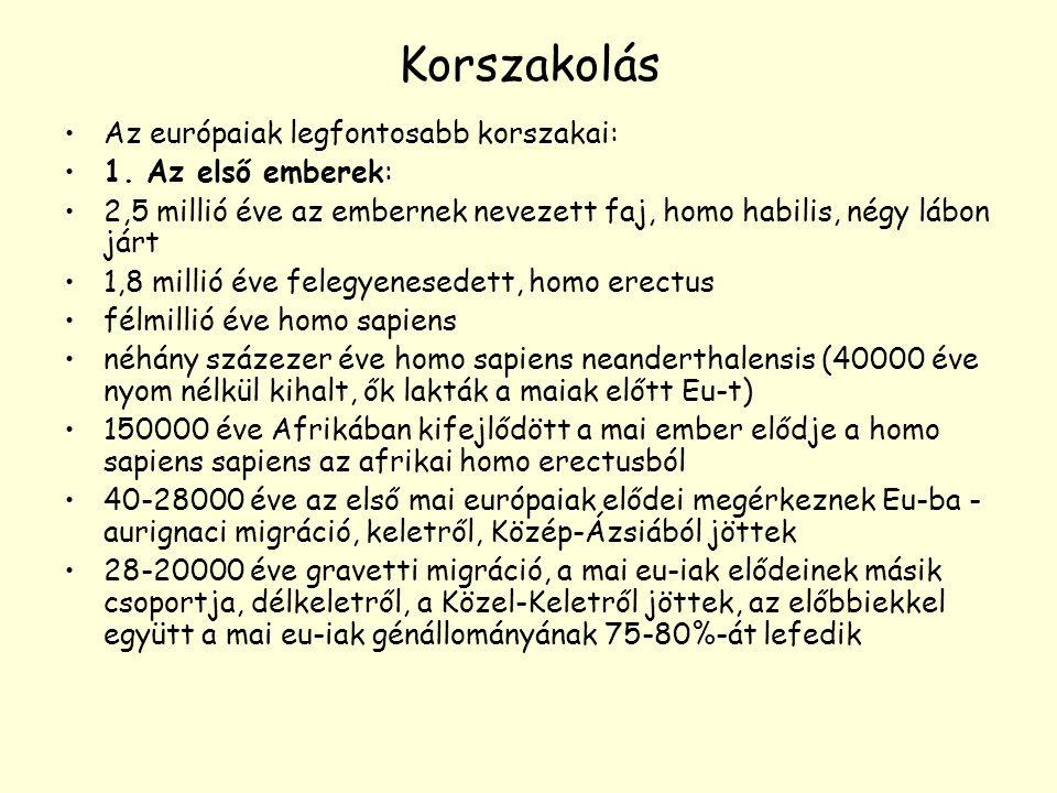 Korszakolás Az európaiak legfontosabb korszakai: 1. Az első emberek: 2,5 millió éve az embernek nevezett faj, homo habilis, négy lábon járt 1,8 millió