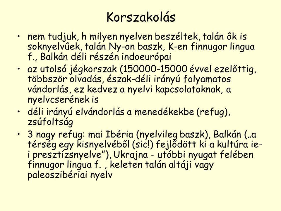 Korszakolás nem tudjuk, h milyen nyelven beszéltek, talán ők is soknyelvűek, talán Ny-on baszk, K-en finnugor lingua f., Balkán déli részén indoeurópa