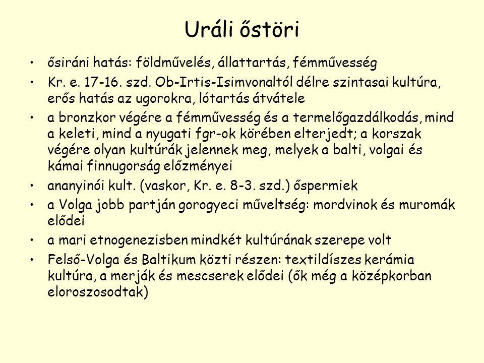 Uráli őstöri ősiráni hatás: földművelés, állattartás, fémművesség Kr. e. 17-16. szd. Ob-Irtis-Isimvonaltól délre szintasai kultúra, erős hatás az ugor