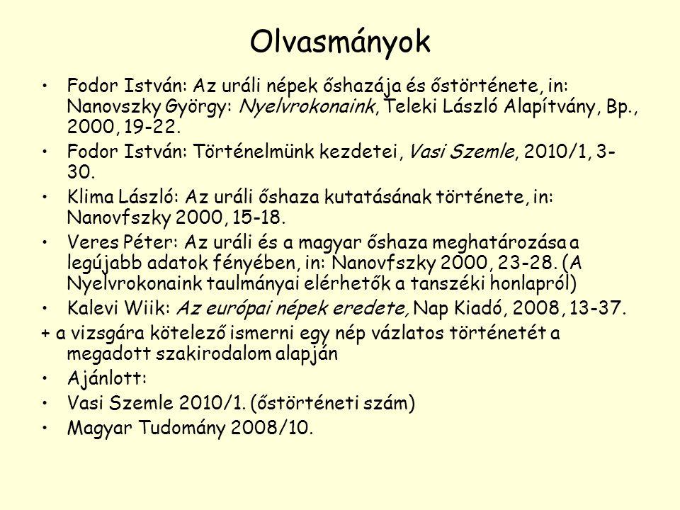 Olvasmányok Fodor István: Az uráli népek őshazája és őstörténete, in: Nanovszky György: Nyelvrokonaink, Teleki László Alapítvány, Bp., 2000, 19-22. Fo