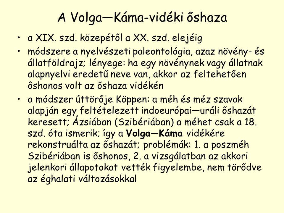 A Volga—Káma-vidéki őshaza a XIX. szd. közepétől a XX. szd. elejéig módszere a nyelvészeti paleontológia, azaz növény- és állatföldrajz; lényege: ha e