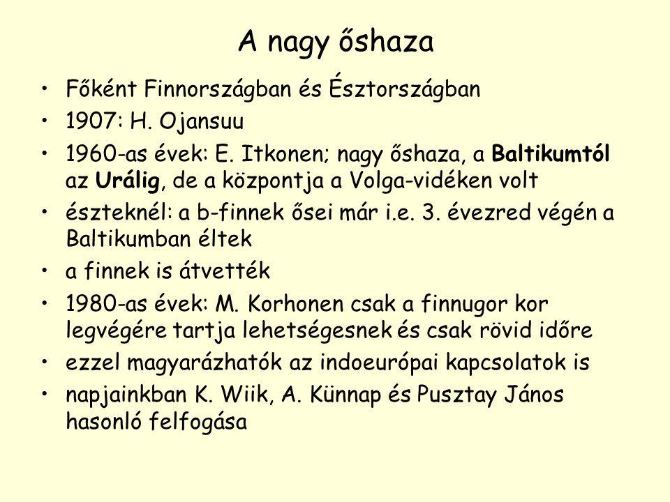 A nagy őshaza Főként Finnországban és Észtországban 1907: H. Ojansuu 1960-as évek: E. Itkonen; nagy őshaza, a Baltikumtól az Urálig, de a központja a