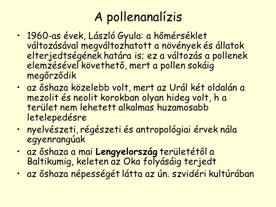 A pollenanalízis 1960-as évek, László Gyula: a hőmérséklet változásával megváltozhatott a növények és állatok elterjedtségének határa is; ez a változá