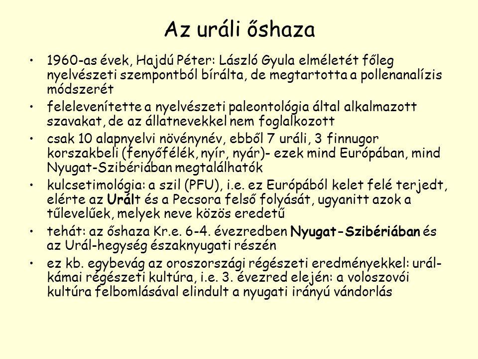 Az uráli őshaza 1960-as évek, Hajdú Péter: László Gyula elméletét főleg nyelvészeti szempontból bírálta, de megtartotta a pollenanalízis módszerét fel