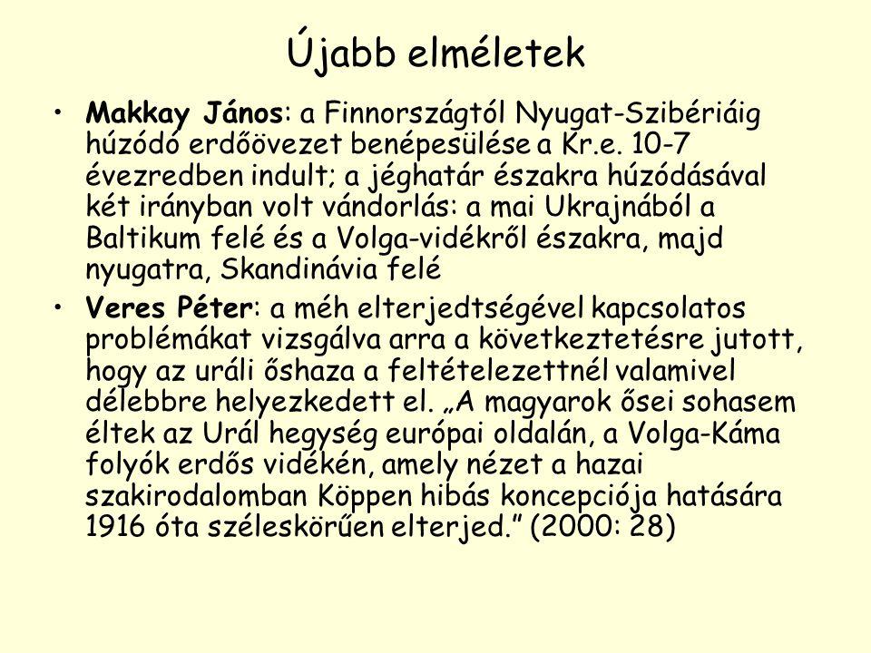 Újabb elméletek Makkay János: a Finnországtól Nyugat-Szibériáig húzódó erdőövezet benépesülése a Kr.e. 10-7 évezredben indult; a jéghatár északra húzó