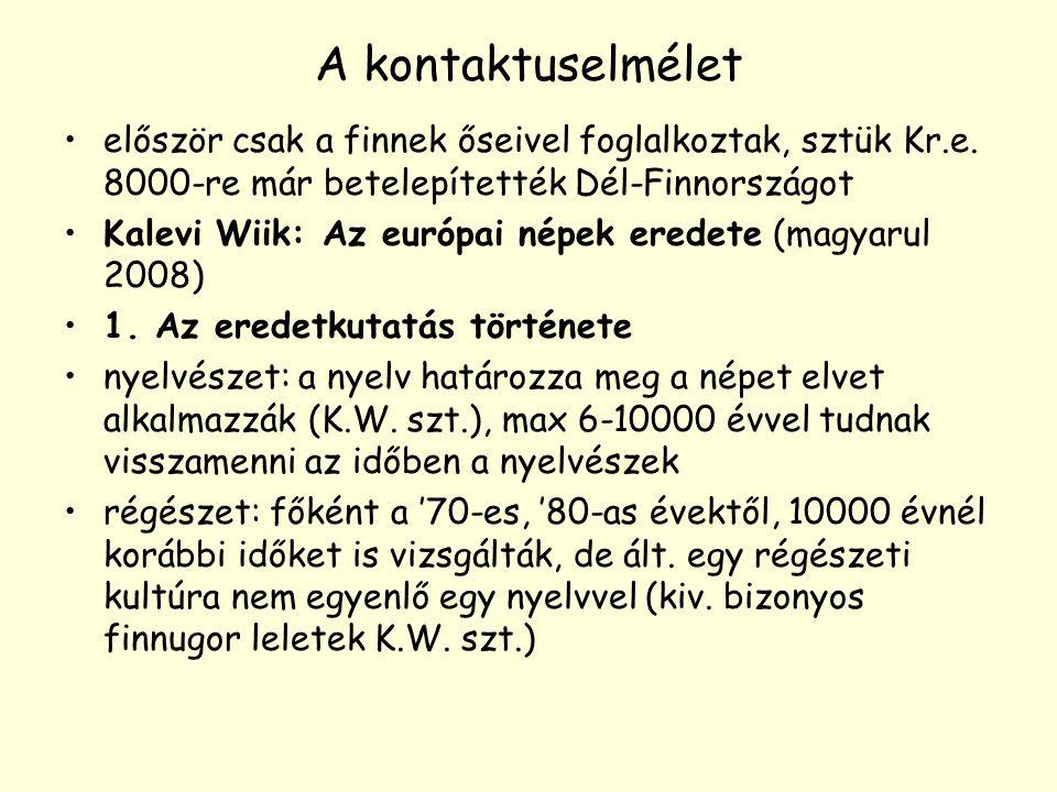 A kontaktuselmélet először csak a finnek őseivel foglalkoztak, sztük Kr.e. 8000-re már betelepítették Dél-Finnországot Kalevi Wiik: Az európai népek e
